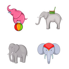 Elephant icon set, cartoon style