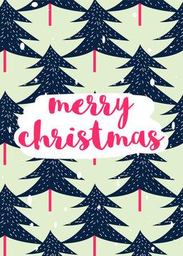 5x7 Christmas Card - Christmas Tree. Vector Illustration