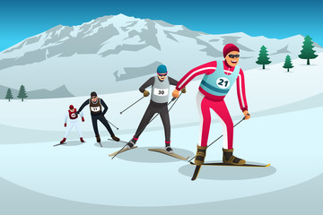 Cross Country Skiing Athletes Competing Illustration