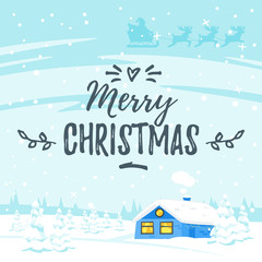 winter background with house