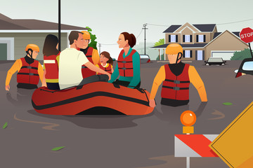 Rescue team helping people during flooding