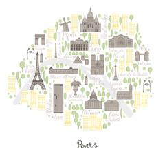 Map of Paris. Vector sketch illustration