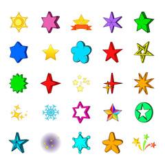 Star icon set, cartoon style