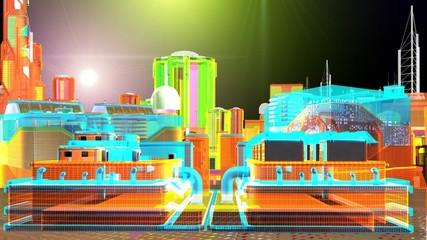Vista notturna di una futuristica metropoli virtuale