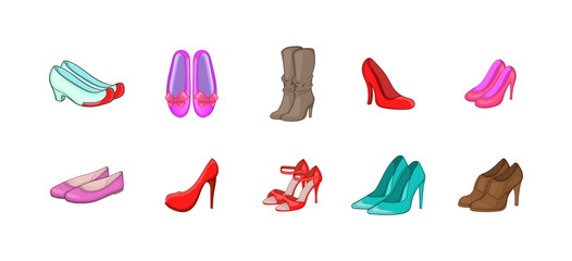 Woman shoes icon set, cartoon style
