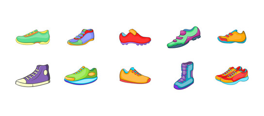 Sport shoes icon set, cartoon style