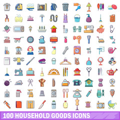 100 household goods icons set, cartoon style