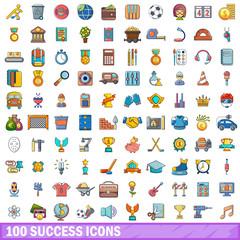 100 success icons set, cartoon style