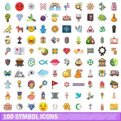 100 symbol icons set, cartoon style
