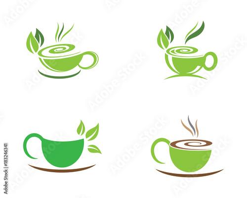 tea cup logo template vector icon illustration design stock image