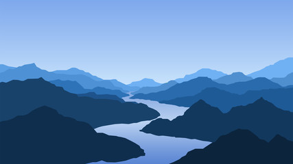 Printed kitchen splashbacks Night blue Vector wallpaper with a landscape, mountains and river