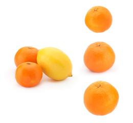 Orange tangerines and yellow lemon on a white background