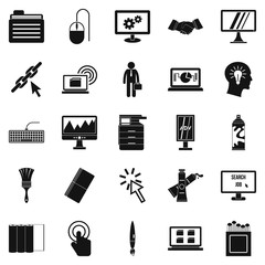 Data processor icons set, simple style