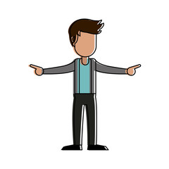 Young man celebrating cartoon icon vector illustration graphic design