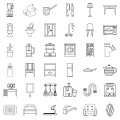 Interior icons set, outline style