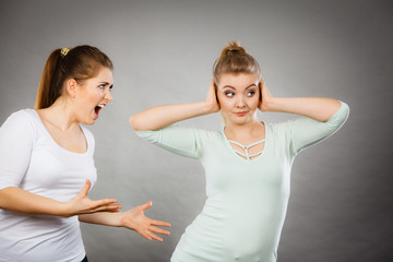 Two women having argue