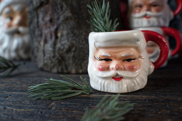 rustic Christmas santa mugs with green branches