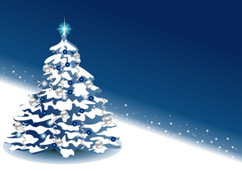 New Year blue background with place for text. Christmas tree with balls. EPS 10