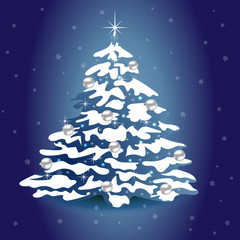 New Year blue square background with christmas tree.  EPS 10