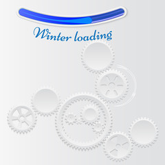 Vector illustration of gears with on the grey background. Winter loading concept. Infographic vector template