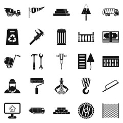 Building material icons set, simple style