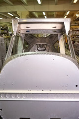Light airplane body part, workshop. Production of an aircraft.