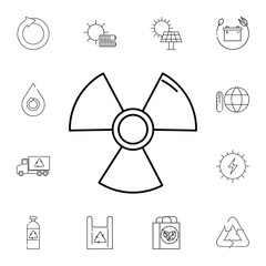 The radiation icon. Set of ecology sign icons. Signs, outline eco collection, simple thin line icons for websites, web design, mobile app, info graphics