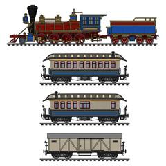 Old american wild west steam train