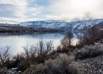 Snow covered Columbia River Valley north of Wenatchee, Eastern Washington state