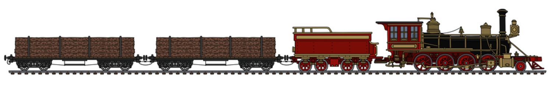 Vintage american wild west steam timber train