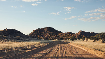 Dirt road in Namibia, matte style