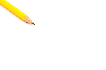 Yellow pencil isolated on white background. copy space