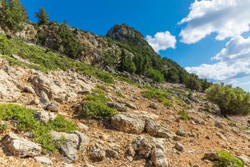 Stony landscape of  the Tsambika mountain on the Rhodes Island, Greece