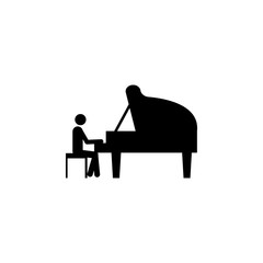 man playing piano icon. Silhouette of a musician icon. Premium quality graphic design. Signs, outline symbols collection icon for websites, web design, mobile app