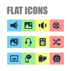 Multimedia icons set with speaker, picture, mobile content and other broadcast