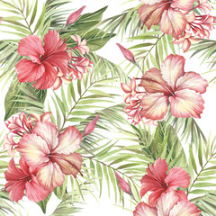 Tropical seamless pattern. Palm leaves and hibiscus.Hand draw watercolor illustration.