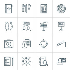 Management icons set with analysis, collaboration, presentation and other money  elements. Isolated vector illustration management icons.