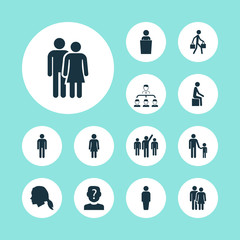 People icons set with beloveds, gentlewoman head, lecturer and other member