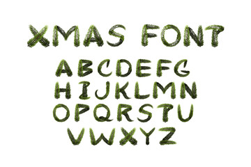 Vector realistic isolated fir tree alphabet font for decoration and covering on the white background. Concept of Merry Christmas and Happy New Year.