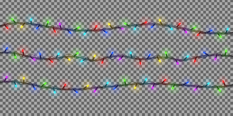 Vector realistic isolated garlands for decoration. Realistic light effect on the transparent background. Concept of Merry Christmas and Happy New Year.