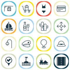 Travel icons set with sail ship, baggage on conveyor, bathing costume and other bank card