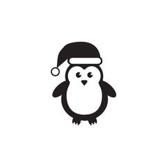 Cute Penguins wearing Santa Claus hat icon. Christmas or New Year element. Premium quality graphic design. Signs, outline symbols collection, simple icon for websites, web design