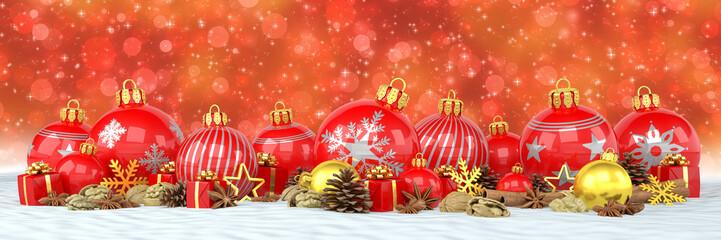 Weihnachten - Weihnachtskugeln, Christbaumkugeln, Anis, Sternanis, Zimt, Zimtstangen, Walnüsse, Geschenke, Schnee - bokeh