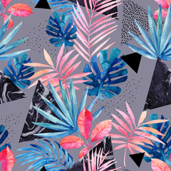 Modern art illustration with tropical leaves, grunge, marbling textures, doodles, geometric, minimal elements.