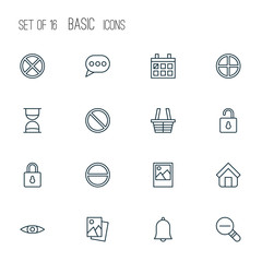 Network icons set with estate, image, positive and other safeguard