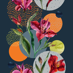 Watercolor decorative flowers and leaves, circle shapes filled with watercolour, minimal doodle textures on background.