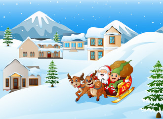 Cartoon santa claus with elf riding on a sleigh with bag of gifts pulled by reindeer