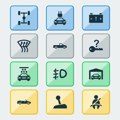 Car icons set with transport cleaning, repairing, convertible model and other passenger protection  elements. Isolated vector illustration car icons.