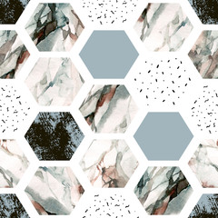 Aluminium Prints Graphic Prints Watercolor hexagon with stripes, water color marble, grained, grunge, paper textures.