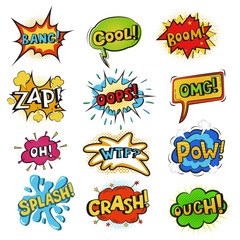 Pop art comic bubbles vector cartoon speech popart style in humor expression bubbling text set isolated on white background illustration